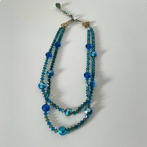 Vtg Art Deco Green/Blue Austrian Crystal Necklace